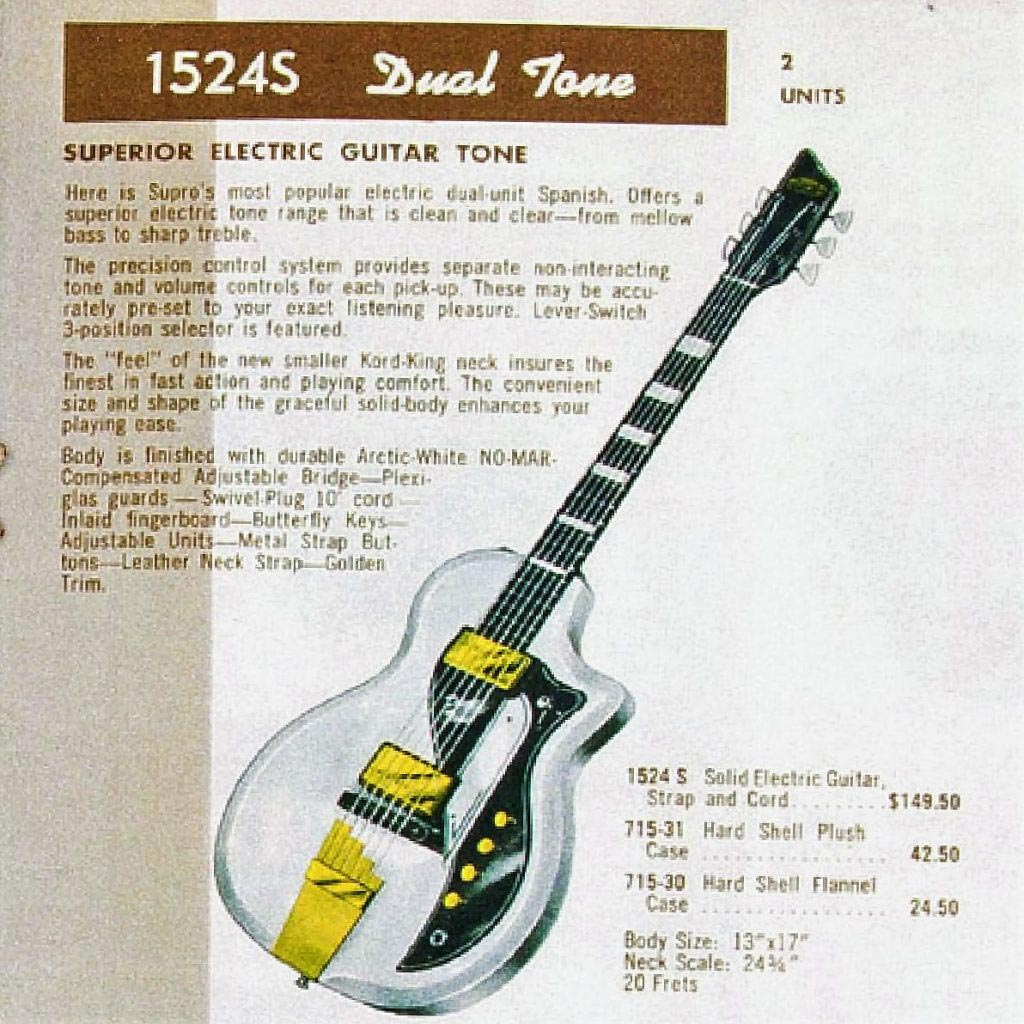 The Supro 1524S Dual Tone as it appeared in an original Supro catalog.