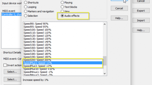 "Change the Command Category to ""Audio effects"" and scroll to the entry ""SpeedPlus1: Speed + 1%"""