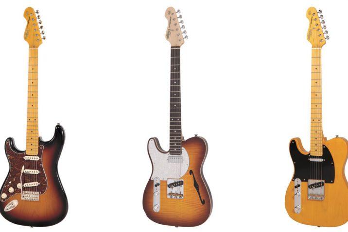 Vintage left-handed electric guitars