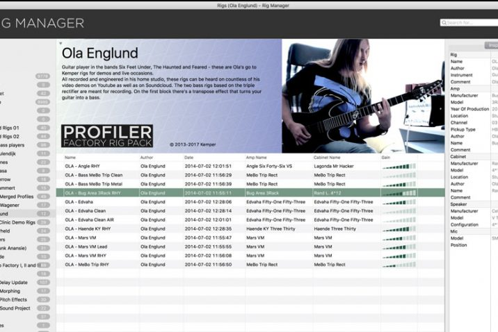 Kemper release new Rig Manager Software 2.0 introducing Rig Pack support