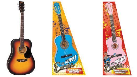 Encore's best-selling 'Play Now' acoustic guitar series expands with new guitars and packs.