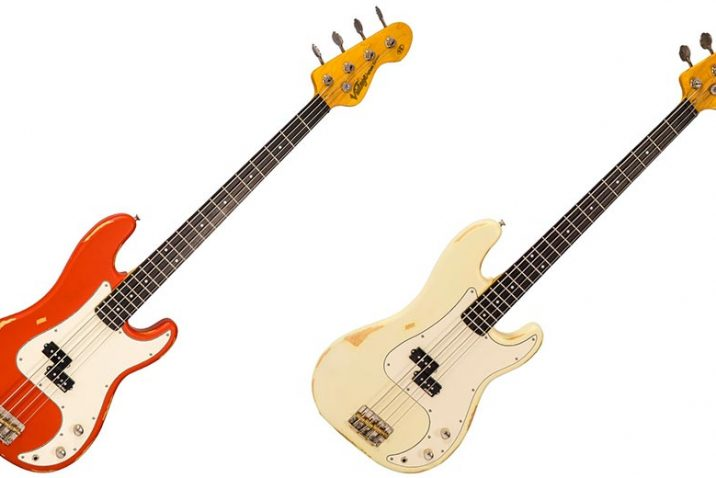 Distressed Firenza Red and Vintage White finishes added to Vintage V4 ICON Series Basses