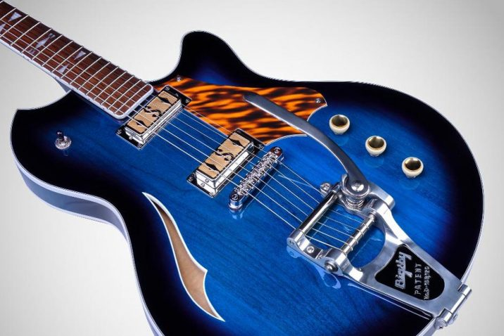 Supro launches Conquistador and Clermont semi-hollowbody, Bigsby equipped electric guitar designs