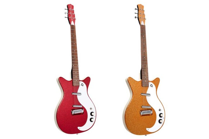 Danelectro launch the '59M NOS+ electric guitar in new Red & Orange Metalflake finishes with enhanced lipstick pickups