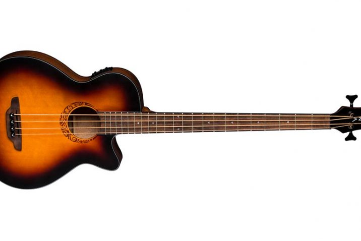 Luna Guitars Tribal Tobacco Sunburst acoustic-electric bass guitar