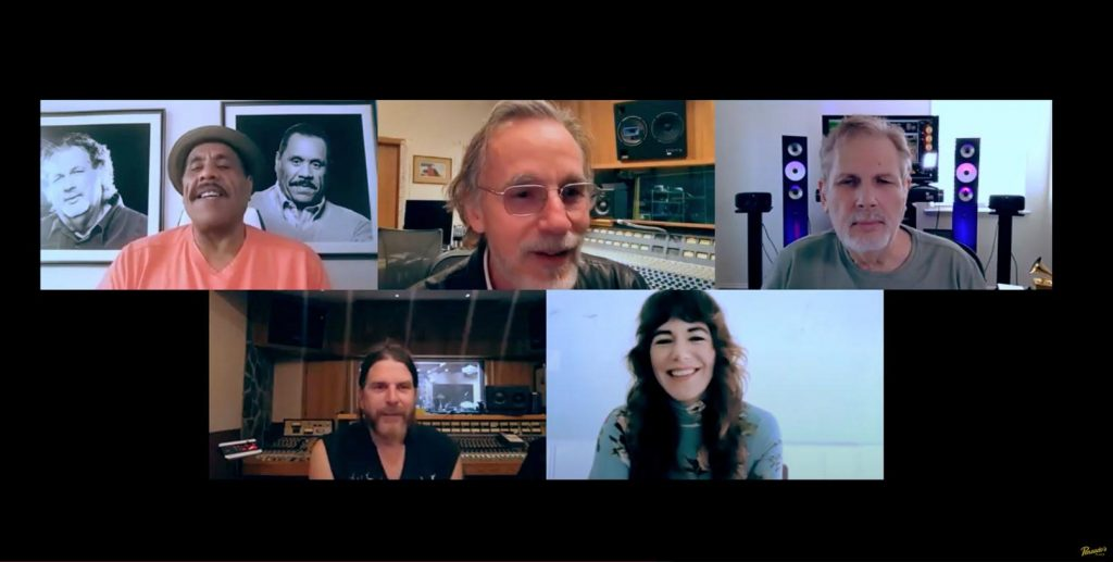 Pensado's Place recently hosted an episode with members of the super-group that created the collaborative album Let the Rhythm Lead: Haiti Song Summit, Vol. 1. Pictured L-R, top row: Herb Trawick, Jackson Browne and Dave Pensado; bottom row: Jonathan Wilson and Jenny Lewis.