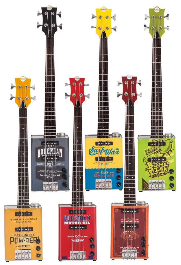 Bohemian oil-can basses with lignum rosa fingerboards