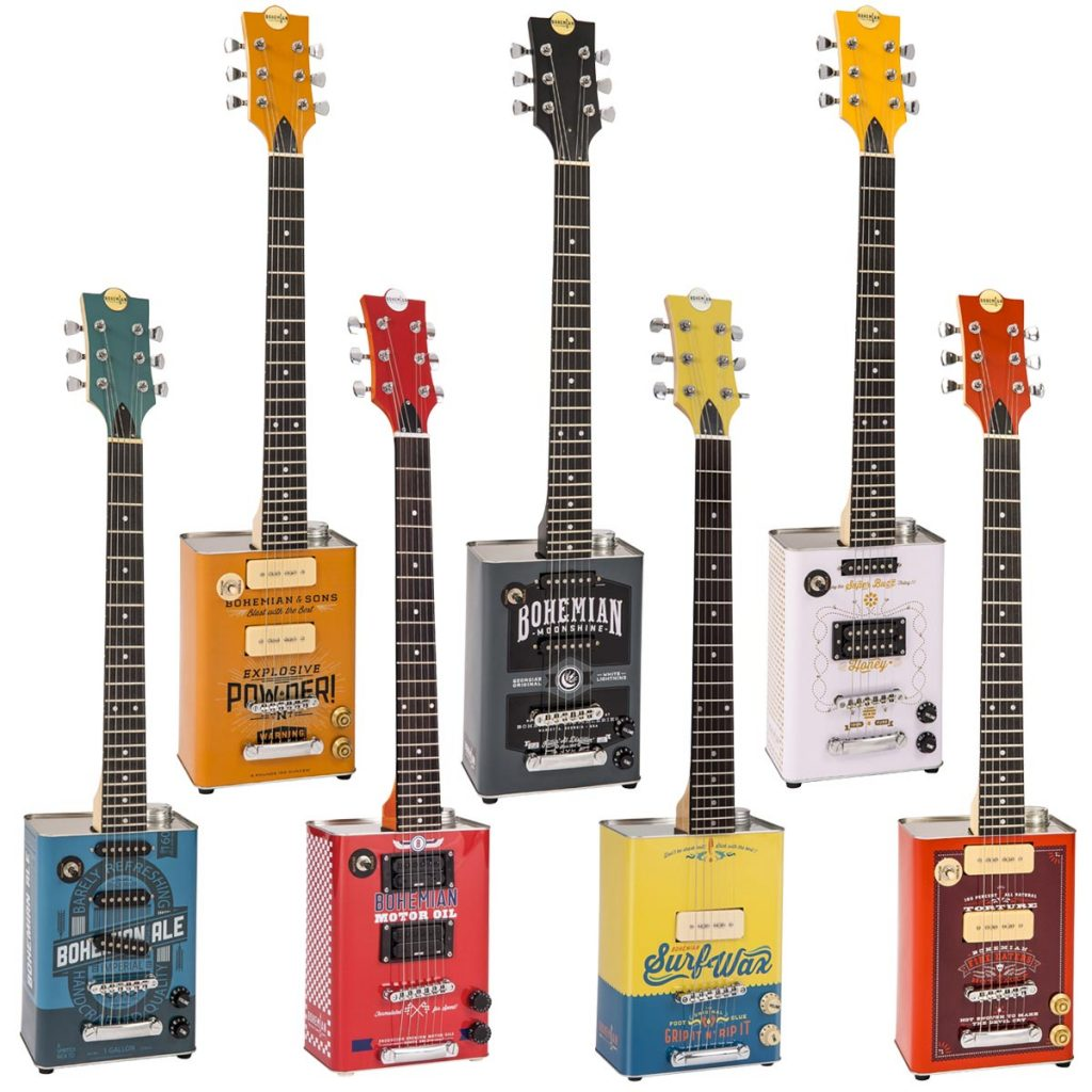 Bohemian oil-can guitars with lignum rosa fingerboards