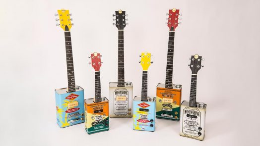 Bohemian electric oil-can guitars and ukuleles are now available with Limited Edition graphic designs