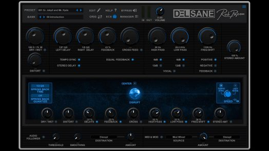Rob Papen DelSane virtual stereo delay effect plug-in