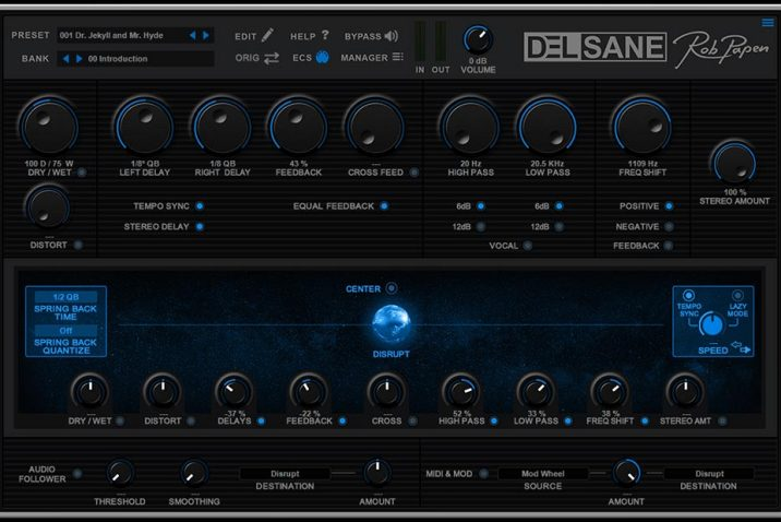 Rob Papen DelSane virtual stereo delay effect plug-in