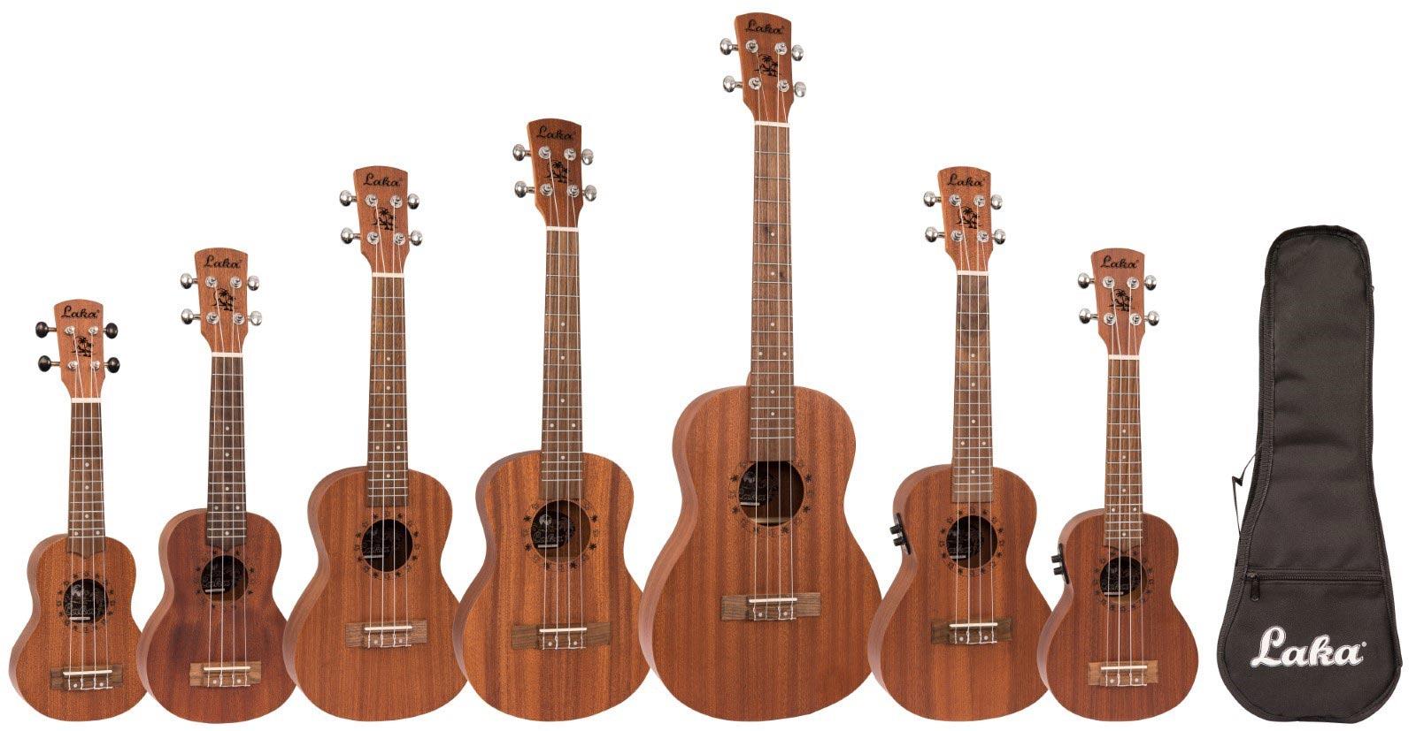 Laka Mahogany Series of acoustic and electro-acoustic ukuleles
